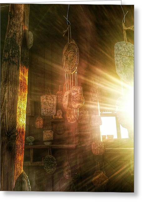 Firsts Pyrography Greeting Cards - The light Greeting Card by L Jackson