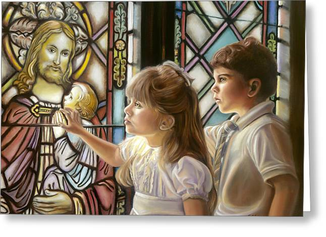 Jesus With Children Greeting Cards - The Light of Faith Greeting Card by Sharon Lange