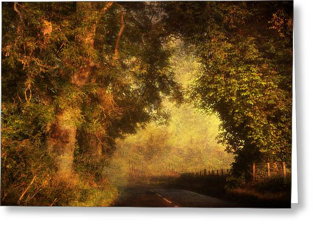 Road Travel Greeting Cards - The Light of the Endless Journey. Scotland Greeting Card by Jenny Rainbow