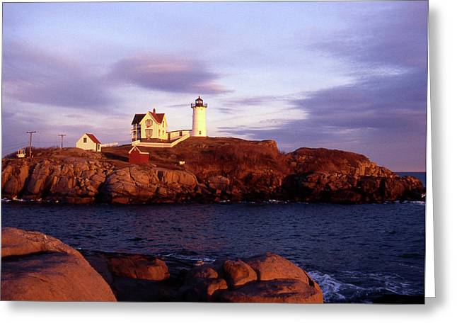 Maine Beach Greeting Cards - The Light on the Nubble Greeting Card by Skip Willits