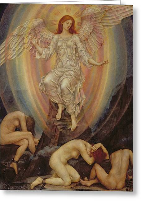 Evelyn De Greeting Cards - The Light Shineth in Darkness and the Darkness Comprehendeth It Not Greeting Card by Evelyn De Morgan