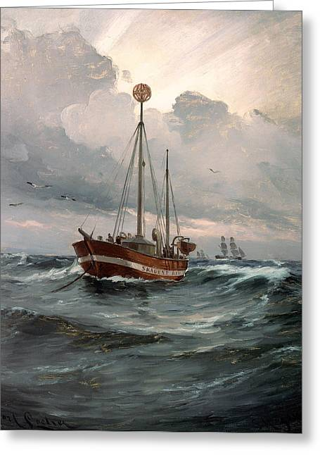 Skagen Greeting Cards - The Light Ship at Skagen Reef Greeting Card by Carl Locher