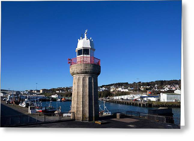 Fishing Port Greeting Cards - The Lighthouse And Fishing Harbour Greeting Card by Panoramic Images