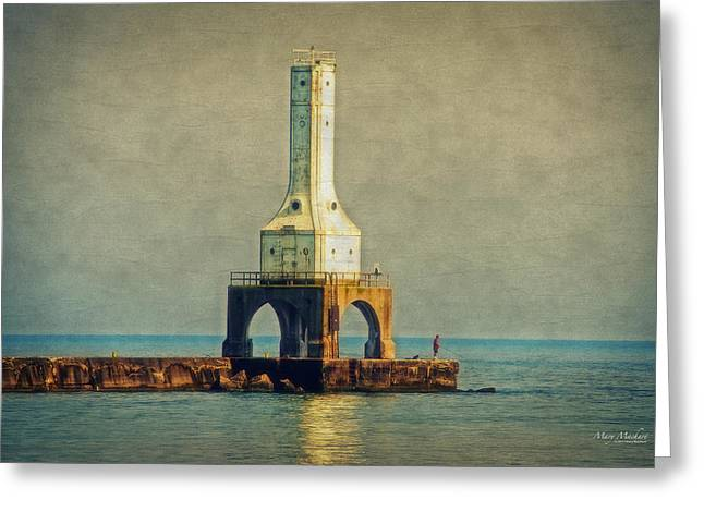 The Lighthouse And The Fisherman Greeting Card by Mary Machare
