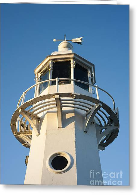 Head Harbour Lighthouse Greeting Cards - The Lighthouse at Mevagissy Greeting Card by Anne Gilbert