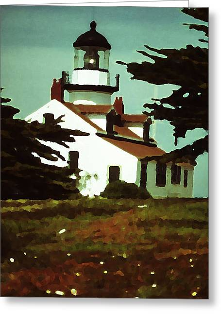 Point Lobos Digital Greeting Cards - The Lighthouse At Point Lobos Greeting Card by Marcia Mauskopf