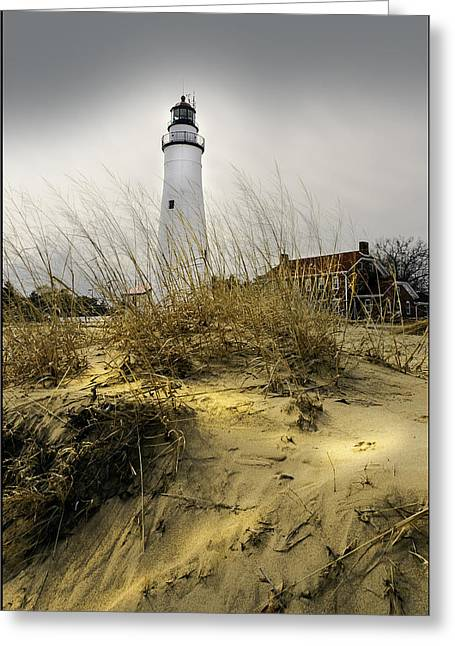 The Lighthouse Beach At Fort Gratiot Michigan Greeting Card by LeeAnn McLaneGoetz McLaneGoetzStudioLLCcom