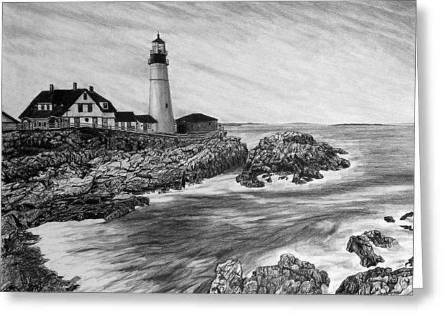 Ocean Landscape Drawings Greeting Cards - The Lighthouse Greeting Card by Bobby Shaw