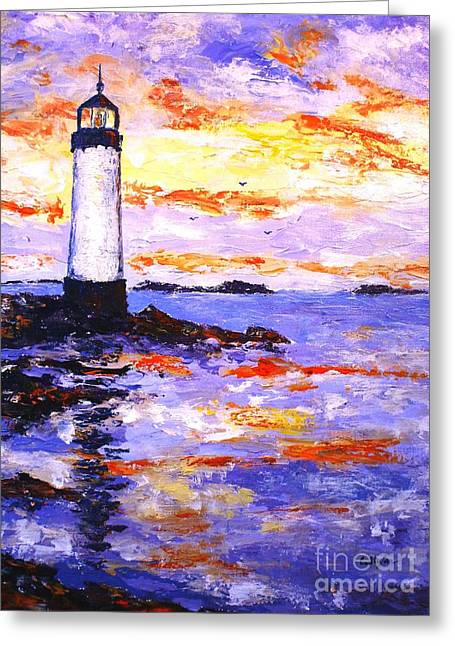 Lighthouse By The Sea Greeting Cards - The Lighthouse Greeting Card by Cristina Stefan