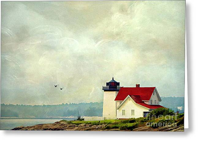 Maine Shore Greeting Cards - The Lighthouse Greeting Card by Darren Fisher