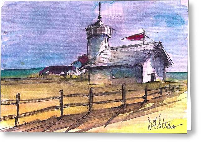 The Lighthouse Greeting Card by Diane Strain