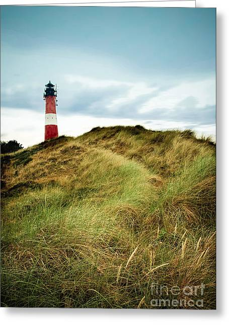Hörnum Greeting Cards - the lighthouse of Hoernum Greeting Card by Hannes Cmarits
