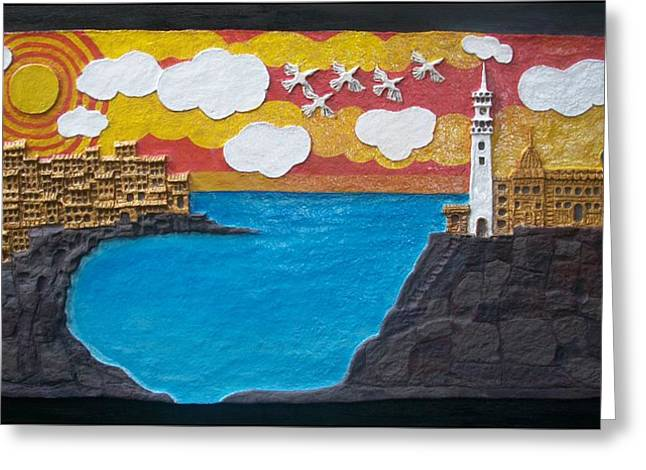 Stone House Mixed Media Greeting Cards - The Lighthouse Greeting Card by Otil Rotcod