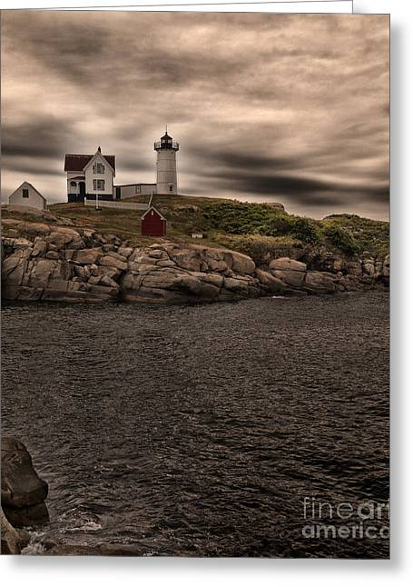 Cape Neddick Greeting Cards - The Lighthouse Greeting Card by Phil Pantano