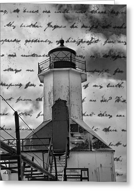 The Great Lakes Greeting Cards - The Lighthouse Poem Greeting Card by Dan Sproul
