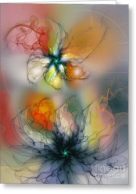 Art Of Design Greeting Cards - The Lightness of Being-Abstract Art Greeting Card by Karin Kuhlmann