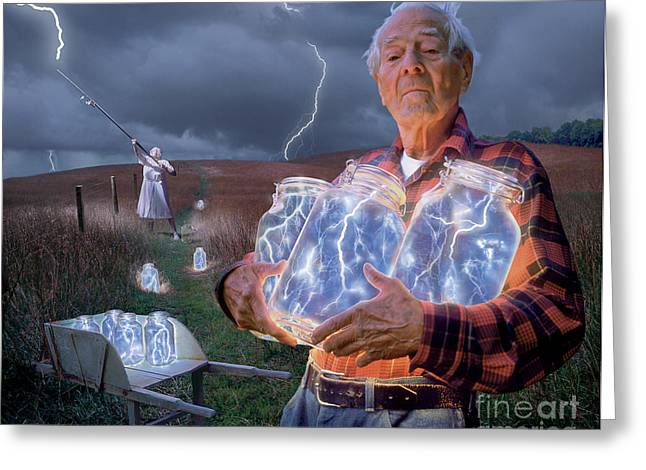 Storm Digital Greeting Cards - The Lightning Catchers Greeting Card by Bryan Allen