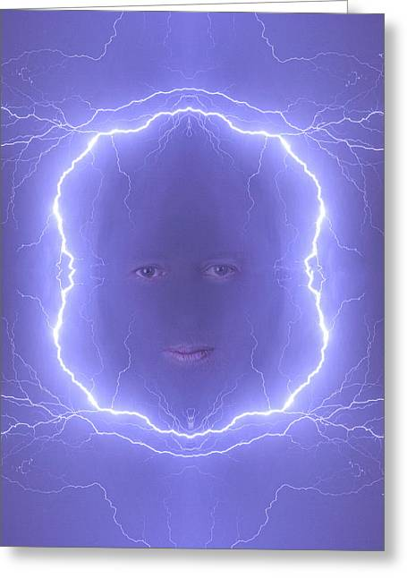 The Lightning Man Blue Greeting Card by James BO  Insogna