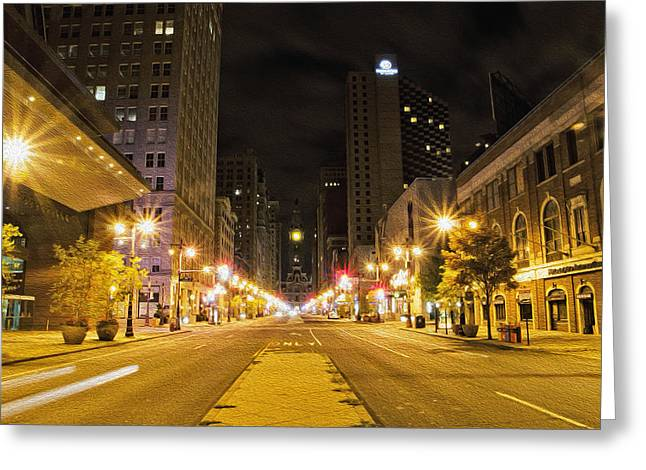 Cityhall Greeting Cards - The Lights on Broad Street Greeting Card by Bill Cannon