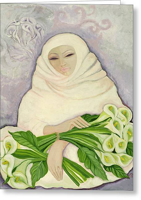 Holding Flower Greeting Cards - The Lily Seller, 1989 Acrylic On Canvas Greeting Card by Laila Shawa