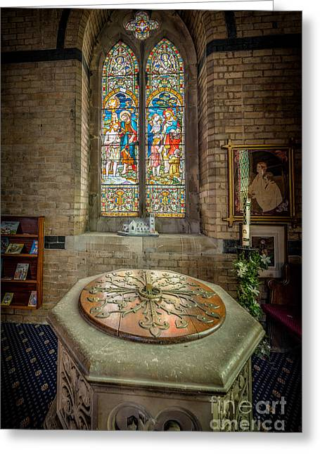 Religious Digital Art Greeting Cards - The Limestone Font  Greeting Card by Adrian Evans