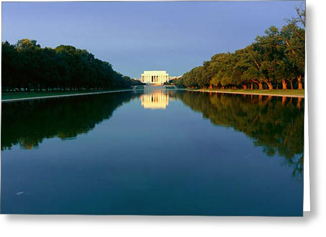 President Of America Photographs Greeting Cards - The Lincoln Memorial At Sunrise Greeting Card by Panoramic Images