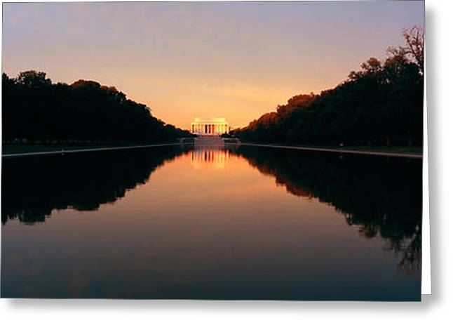 President Of America Photographs Greeting Cards - The Lincoln Memorial At Sunset Greeting Card by Panoramic Images