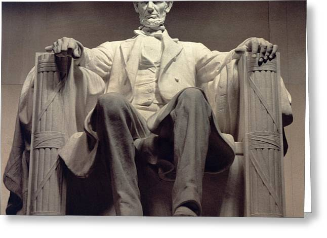 American Politician Photographs Greeting Cards - The Lincoln Memorial Greeting Card by Daniel Chester French