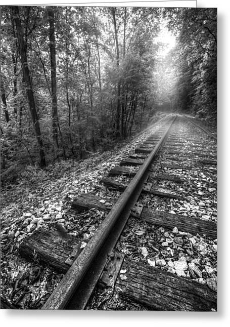 Old Country Roads Greeting Cards - The Line in Black and White Greeting Card by Debra and Dave Vanderlaan