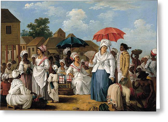 Domingo Greeting Cards - The Linen Market. Santo Domingo Greeting Card by Agostino Brunias