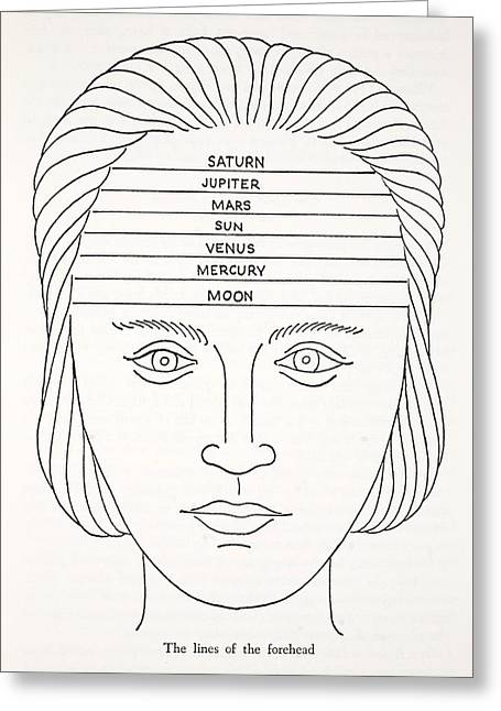 Fortune-telling Greeting Cards - The Lines Of The Forehead Greeting Card by English School
