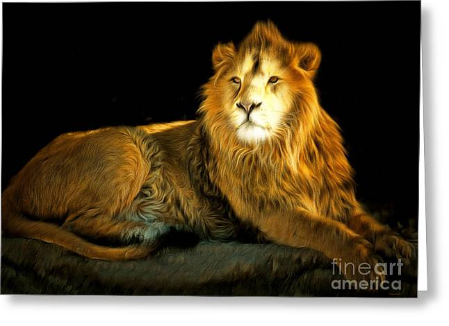 Pussy Greeting Cards - The Lion 201502113-2brun Greeting Card by Wingsdomain Art and Photography
