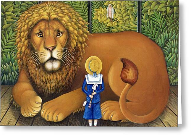The Lion And Albert, 2001 Greeting Card by Frances Broomfield