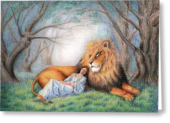 C.s Lewis Greeting Cards - The Lion and Me Greeting Card by Heidi Carson