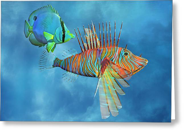 Lionfish Greeting Cards - The Lion and the Butterfly Greeting Card by Betsy C  Knapp