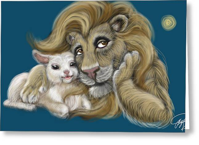 Lion And Lamb Greeting Cards - The Lion and the Lamb  Greeting Card by Angela  Hendricks