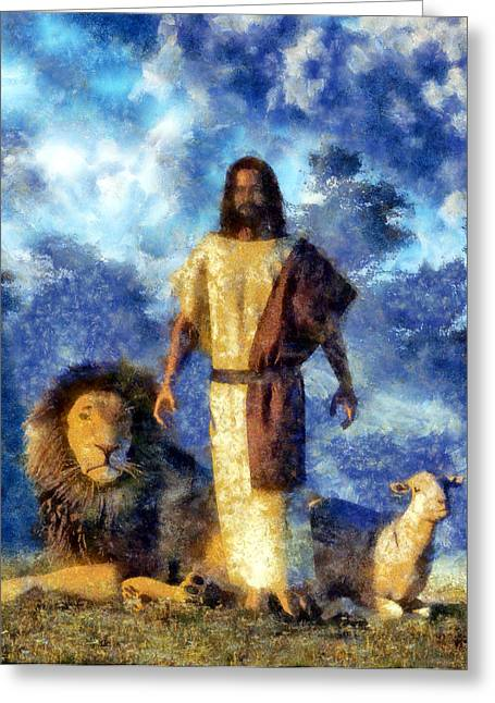 Christian Art Greeting Cards - The Lion and The Lamb Greeting Card by Christian Art