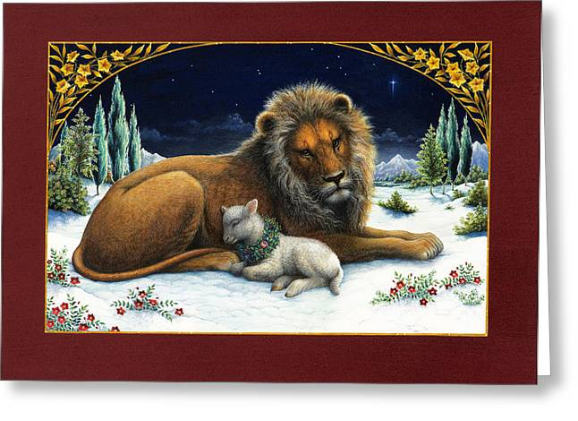 Bible Stories Greeting Cards - The Lion and the Lamb Greeting Card by Lynn Bywaters