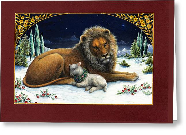 The Lion And The Lamb Greeting Card by Lynn Bywaters