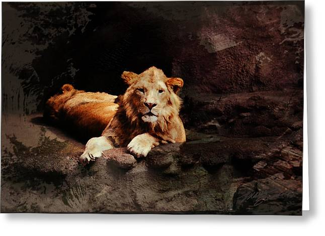 Important Mixed Media Greeting Cards - The Lion and the Lioness Greeting Card by Maria Eames