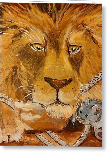 Recently Sold -  - Fabled Greeting Cards - The Lion and the Mouse Greeting Card by Jennifer Kafoury