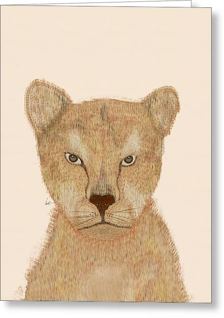 Lion Illustrations Greeting Cards - The Lion Greeting Card by Bri Buckley
