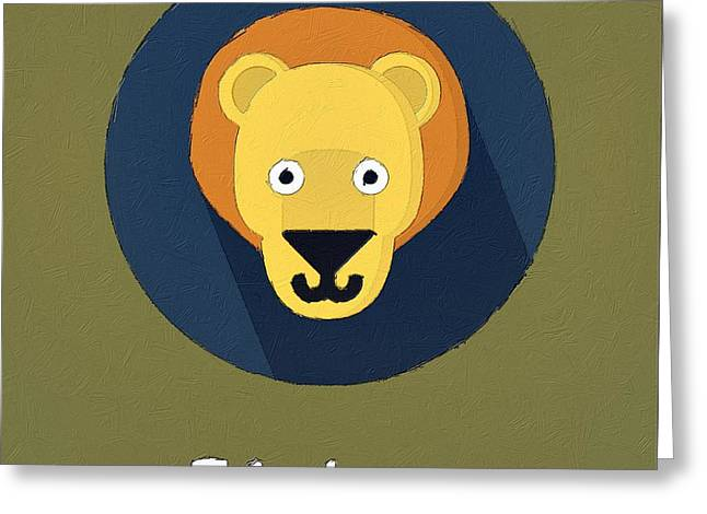 Lessons Greeting Cards - The Lion Cute Portrait Greeting Card by Florian Rodarte