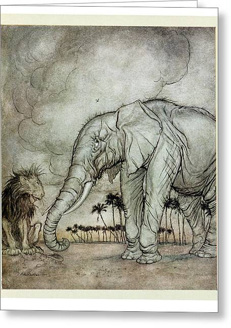 Fabled Greeting Cards - The Lion, Jupiter And The Elephant, Illustration From Aesops Fables, Published By Heinemann, 1912 Greeting Card by Arthur Rackham