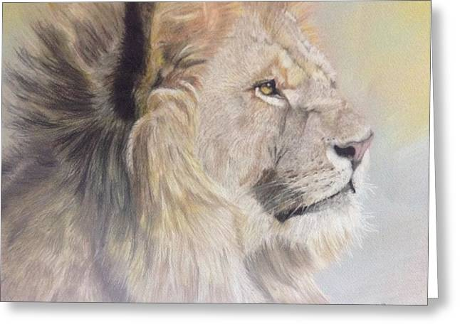 Majestic Pastels Greeting Cards - The Lion King Greeting Card by JulieB