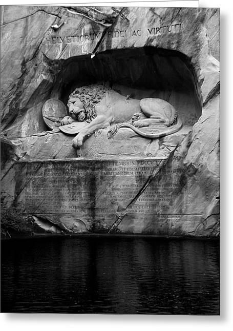 Swiss Guard Greeting Cards - The Lion Monument Greeting Card by Paul Gioacchini