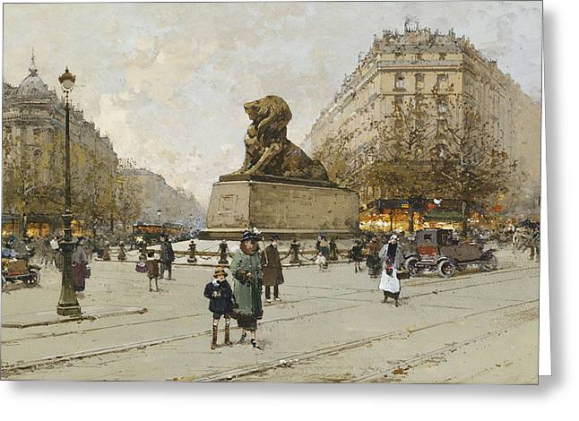 Bartholdi Greeting Cards - The Lion of Belfort Le Lion de Belfort Greeting Card by Eugene Galien-Laloue