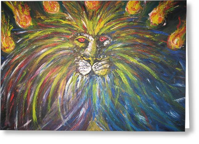 Jesus The Lion Of Judah Greeting Cards - The Lion Of Judah and the Seven Lampstands Greeting Card by Rachael Pragnell