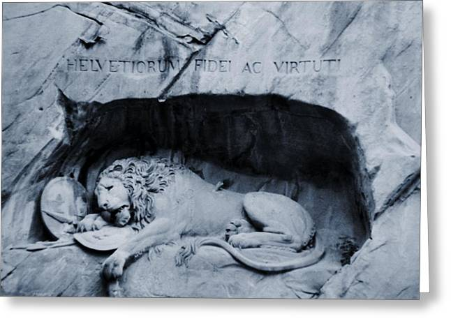 Bravery Greeting Cards - The Lion Of Lucerne Greeting Card by Dan Sproul