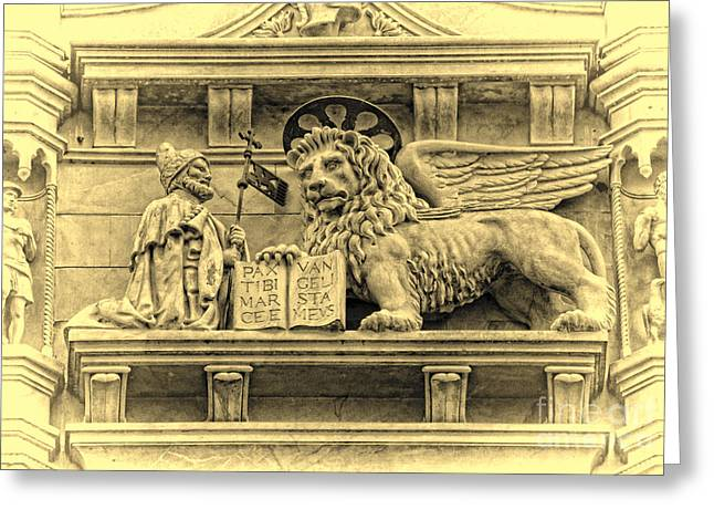 Byzantine Greeting Cards - The Lion of Saint Mark III Greeting Card by Lee Dos Santos